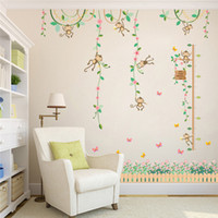 Decal PVC Design Monkeys Height Measure Wall Stickers For Kids Rooms Butterfly Garden fence flower baseboard sticker Nursery Room Decor Poster
