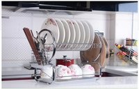 Wholesale Stainless steel kitchen dishes drainboard new double storage rack combination storage rack