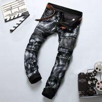 best designer jeans - Vintage Silver Paint Printed Ripped Rider Jeans Pants New Designer Fashion Jeans Men Best Quality Brand Slim Men s Jeans