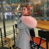 Wholesale 2016 New Color Gray Long Parka with Cherry Pink Slim Fit Gray Bont Fake Fur Long Thick Warm Coat