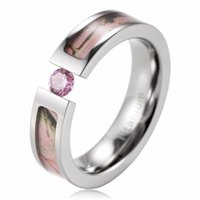 ap realtree camo - Best Seller mm Titanium AAA CZ stone inlaid Pink Realtree AP Pink Camo Engagement Ring Camo wedding band
