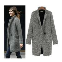 Wholesale Fashion Women Winter Woolen Coat Outwear Long Sleeve One Button Warm Jacket Overcoats Plus Size XL Female H150