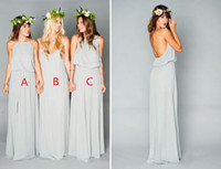 affordable wedding dresses - 2017 Sage Cute and Affordable Mumu Boho Bridesmaid Dresses Elegant Two Pieces Cheap Long Split Wedding Party Guest Country Bridesmaid Gowns