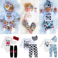 Wholesale 2017 baby INS outfits cartoon letter long sleeve rompers long pant hat set kids stripe geometry printing suit styles C1760