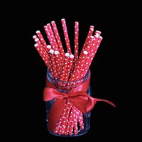 Wholesale Pack of Red Paper Drinking Straws Drinking Tubes Wedding Birthday Party Decoration Tools