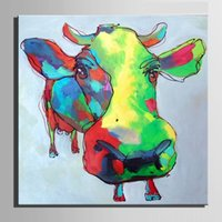 arts cow free shipping - Color Cow Decoration Pure Hand Painted Modern Wall Decor Cartoon Animal Art Oil Painting On Canvas Mulit sizes Available C042