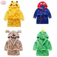 Wholesale Children s bathrobe Retail Baby boys girls dinosaur animal Spiderman Disoft velvet robe pajamas coral children s nightgown baby clothes
