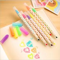 Wholesale Erasable Highlighter pen Candy spot crystal diamond Dual side marker Escolar Stationery School supplies WJ0019