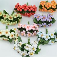 Wholesale Mini Silk Artificial Rose Flowers Bouquet Scrapbooking Peach blossom Flower Leaves Stamen Wedding Decoration Stamen