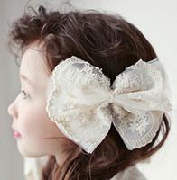Girls Dentelle Bow Headbands Toddler enfants Princess Mesh Headwear Babies Corée dentelle gaze Barrettes 2017 Enfants Accessoires cheveux A0266