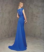 Vestidos de noche formales largos elegantes azules atractivos del satén de la tolerancia Karin Vestidos de noche formales largos elegantes del vestido de la cena de boda de la llegada 2016 de Soiree