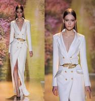 al por mayor zuhair murad vestido blanco-Venta caliente Zuhair Murad blanco Split vestido de noche largo 2017 de alta calidad de manga sexy V-cuello formal vestido de fiesta de baile con cinturón de oro