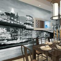 Vue murale sur mesure Manhattan Bridge New York Villes européennes et américaines en noir et blanc Fond d'écran Fond d'écran