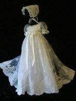 Wholesale Classy Lace Appliqued Christening Gowns Jewel Neckline Short Sleeves Pearls Christening Dresses Baptism Robe Baby First Communication Dress