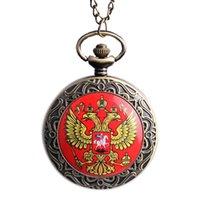 achat en gros de poche montre à quartz aigle-Vente en gros-2015 Vintage Bronze Nouvelle Russie à double tête aigle Quartz Pocket Watch Hommes Femmes Russie Style Pendentif Montres Haute Qualité