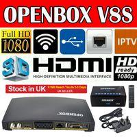 al por mayor hd clave digital-Openbox V8S Full HD 1080P Receptor de Satélite Digital Caja Freesat PVR Soporte WEB TV Biss Llave Cccamd Newcamd Smart Set Caja superior de las existencias en el Reino Unido