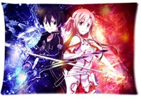 Eco Friendly Polyester / Cotton 50x75cm 2pcs Custom Sword Art Online Pattern Zippered Cotton Polyester Pillow Case 20x30 (Twin sides)