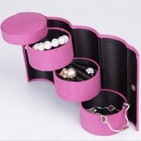 al por mayor accesorios escarlata-Mujeres Cilindro Escarlata Joyería Accesorios Cajas Rojo Joyería Titular Organizador Cajas De Regalo