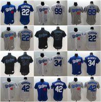 Wholesale Mens Dodgers Clayton Kershaw Jackie Robinson Fernando Valenzuela Ryu Blue White Grey Flexbase Stitched Baseball Jerseys