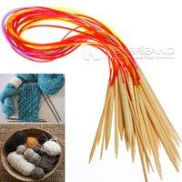 bamboo knitting needles free shipping - Set cm Multicolor Circular Bamboo Weave Knitting Needles Afghan Tunisian Crochet Hooks mm