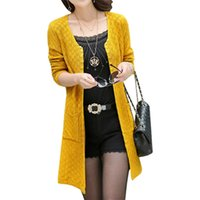Wholesale Spring fall new sweater coat Korean version long outer jumper loose knit cardigan women large size thin clothing vestidos LXJ255
