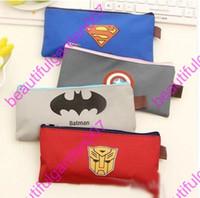 Wholesale Children Pencil bags Avengers Superman Batman Zipper Pencils Box Stationery Bag Storage Pencil Cases School Supplies