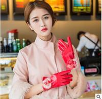 ball gloves - new Korean women rabbit ball leather gloves Winter warm keeping Five finger gloves for ladies