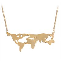 animal maps - Hot Sale New Fashion World Map Pendant Necklace Personality World Jewelry Lovers BFF Creative Gold Silver Black Special Gift