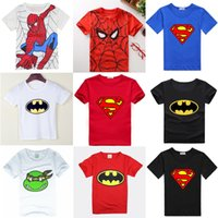 jersey boys tees achat en gros de-Hooyi Baby Boys T-Shirts Summer Short Sleeve Superman Enfants T-shirts 100% coton Soft Kids Batman Tops T-shirt Spiderman Jersey
