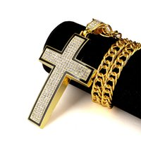 al por mayor diamantes de imitación de la biblia-El oro del regalo 18K de la joyería de Hip Hop de la iglesia de Bling de las mujeres de los hombres plateó los collares de los colgantes de la cruz de Jesús El señor de la biblia rezó la cadena del Rhinestone