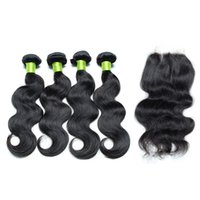 Wholesale Brazilian Body Wave Human Hair Bundle With Lace Closure x4 Unprocessed Soft And Smooth Human Hair Wefts With Lace Closure