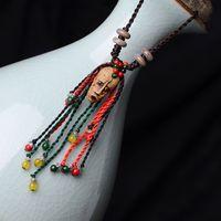 aboriginal jewelry - ethnic necklace chain Hyperbole pattern face agate pendant women Ceramic Retro Aboriginal pottery clay vintage jewelry