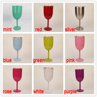 Wholesale Kitchen Cup Color Wine Glasses Stainless Steel Tumber oz Double Wall Insulated Metal Goblet With Lid Rambler Colster Tumb