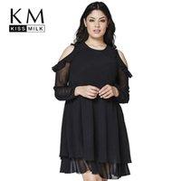 al por mayor vestido básico de mini-Kissmilk frío vestido de volantes de hombro básico gasa damas mini vestidos elegante fiesta de una línea de vestir más tamaño 3XL 4XL 5XL 6XL