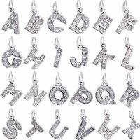 Wholesale 26 Styles A Z Big Hole Bead DIY Metal Letter Silver Plated Alphabet Beads With Crystal Fit Bracelets Necklace PD123