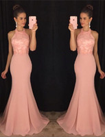 bags image - 2016 stylish and sexy back strap bag hip fishtail skirt drain back Jumpsuit neck meat pink chiffon Pageant Dresses a cheap postage