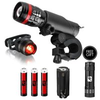 bicycle installation - Bike Light Super Bright Bicycle T6 LED Headlight Tail Light and Mount Holder Zoom Waterproof Easy Installation AAA Batteries