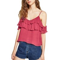 Wholesale Women sweet ruffles off shoulder tops sexy sleeveless tank crop tops camis summer fashion casual brand shirts blusas WT328