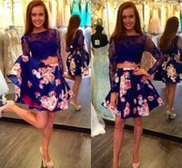 Wholesale Two Pieces Prom Dresses Lace Long Sleeve Short Floral Homecoming Dresses Custom Made Formal Gowns
