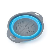 Wholesale 230g Direct creative kitchen supplies silicone foldable drain basket can be folded Water Leakage