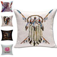 Wholesale Indian Rose Dreamcatcher Throw Pillow Cases Cushion Cover Pillowcase Home Sofa Square Pillow Case Pillowslip Textiles Gift