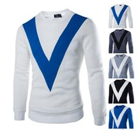 Wholesale Winter short sleeved version of the V mosaic men s casual global fashion Hedging running sweater racing sweater