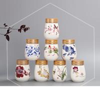 Wholesale Tea caddy celadon pot Sealed small tank China Storage Bottles Jars freehand sketching Chinese style jar