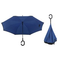 Wholesale 2017 C Handle Long Handle Umbrella Inverted Umbrellas Double Layer With C Handle Inside Out Reverse Windproof Umbrella colors