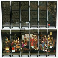 Wholesale Beautiful dream of twelve big beauty lacquer process small screen with Chinese characteristics