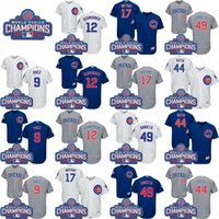 Wholesale 2016 World Series Champions Patch Chicago Cubs Javier Baez Kris Bryant Rizzo Ben Zobrist Authentic Flexbase Baseball Jersey