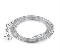 Grandes promotions! 100 pcs 925 Sterling Silver Smooth Snake Chain Collier Fermoir Fermoir Chaîne Taille des bijoux 1mm 16inch --- 24inch