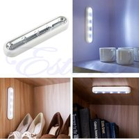 White Tap Lights 5-LED Auto-Stick Under Cabinet Push Night Light Lamp Lampe Lamparas Home Kitchen -Y103