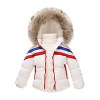 baby fur coat and hat - Children White down jacket Baby boys girls thick Warm coats Removable Hat and Fur Collar Kids outerwear High Quality clj020
