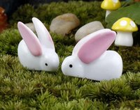 big crafts - Fairy Garden Miniature rabbit bunny white color big ears artificial mini rabbits decors resin crafts bonsai decors Easter Bunny